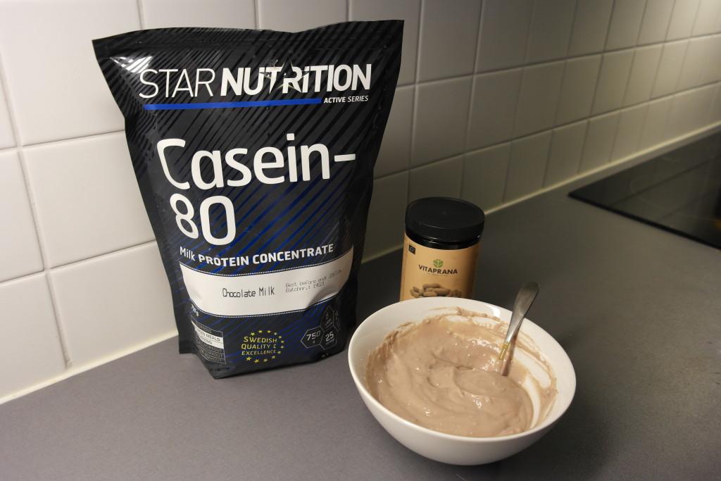 Casein-80 chocolate and organic peanut butter