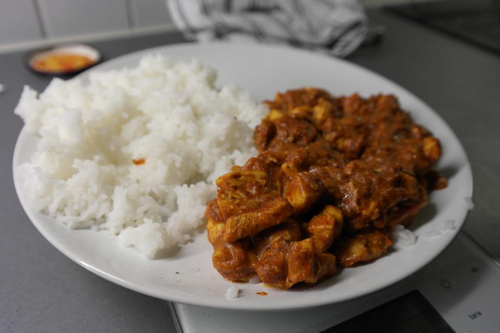 Tikka masala and jasmine rice
